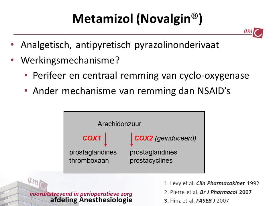 Analgetisch, antipyretisch pyrazolinonderivaat Werkingsmechanisme? Perifeer en centraal remming van cyclo-oxygenase Ander mechanisme van remming dan N