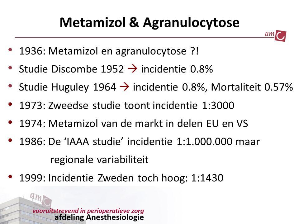 Metamizol & Agranulocytose 1936: Metamizol en agranulocytose ?! Studie Discombe 1952  incidentie 0.8% Studie Huguley 1964  incidentie 0.8%, Mortalit