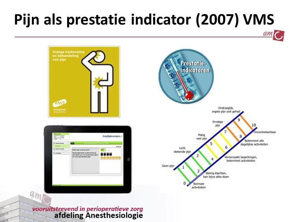 VMS doelstellingen Bij 90% patiënten  3x/24h pijn gemeten pijnmeting door middel van de NRS 7 in eerste 72 uur post-op