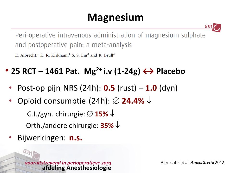 Magnesium Albrecht E et al. Anaesthesia 2012 Post-op pijn NRS (24h): 0.5 (rust) – 1.0 (dyn) Opioid consumptie (24h):  24.4%  G.I./gyn. chirurgie: 