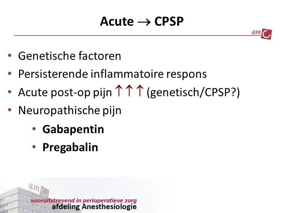 Acute  CPSP Genetische factoren Persisterende inflammatoire respons Acute post-op pijn    (genetisch/CPSP?) Neuropathische pijn Gabapentin Pregaba