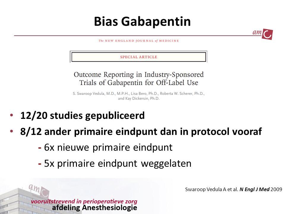 Bias Gabapentin 12/20 studies gepubliceerd 8/12 ander primaire eindpunt dan in protocol vooraf - 6x nieuwe primaire eindpunt - 5x primaire eindpunt we