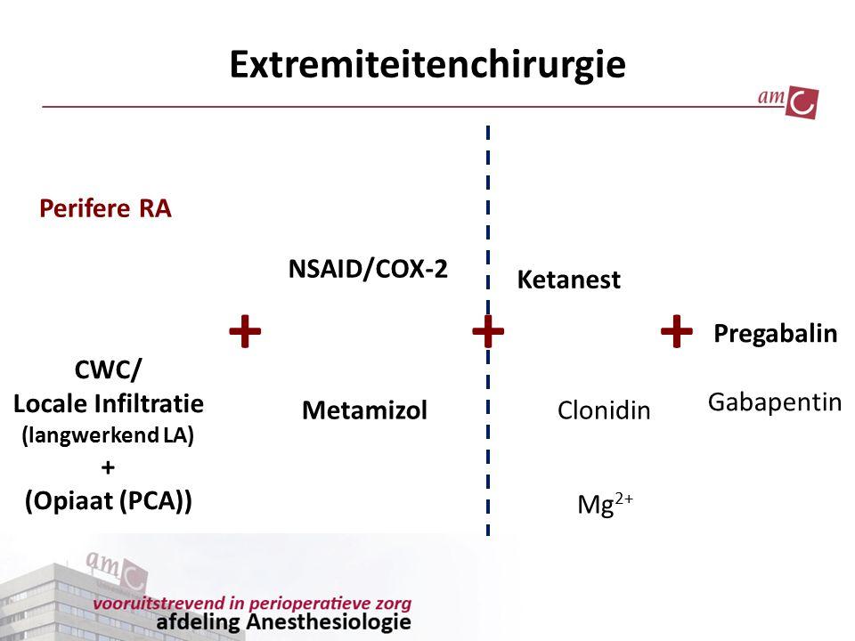 Extremiteitenchirurgie Perifere RA CWC/ Locale Infiltratie (langwerkend LA) + (Opiaat (PCA)) NSAID/COX-2 Metamizol Ketanest Clonidin Pregabalin +++ Ga