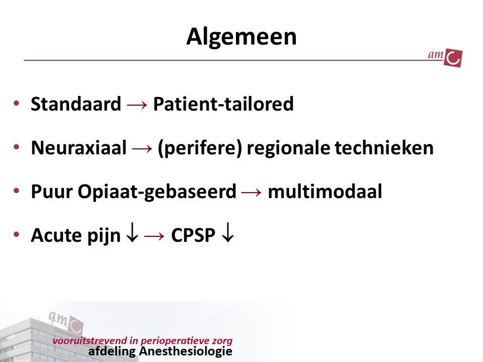 Extremiteitenchirurgie Perifere RA CWC/ Locale Infiltratie (langwerkend LA) + (Opiaat (PCA)) NSAID/COX-2 Metamizol Ketanest Clonidin Pregabalin +++ Gabapentin Mg 2+