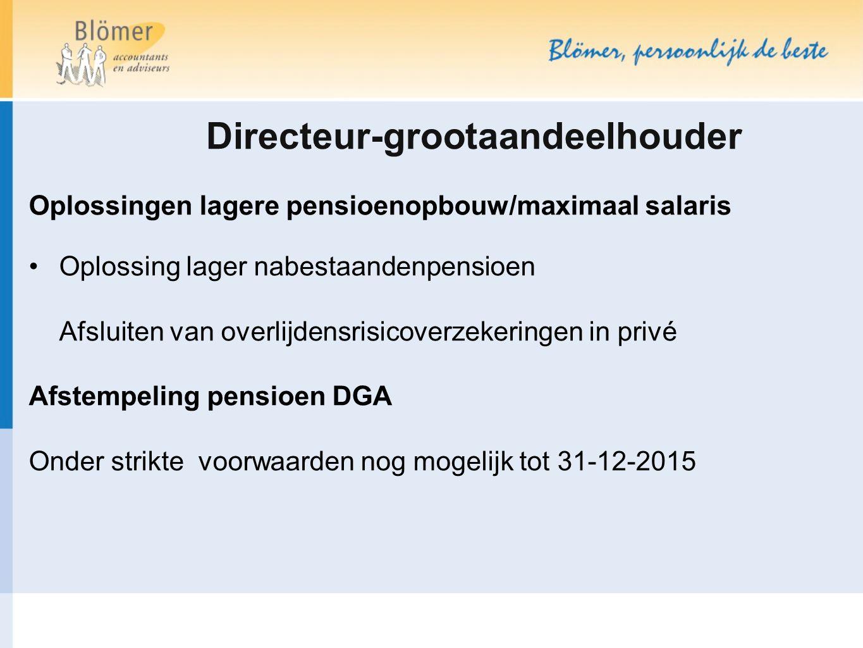 Directeur-grootaandeelhouder Oplossingen lagere pensioenopbouw/maximaal salaris Oplossing lager nabestaandenpensioen Afsluiten van overlijdensrisicove