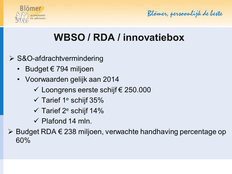 WBSO / RDA / innovatiebox  S&O-afdrachtvermindering Budget € 794 miljoen Voorwaarden gelijk aan 2014 Loongrens eerste schijf € 250.000 Tarief 1 e sch