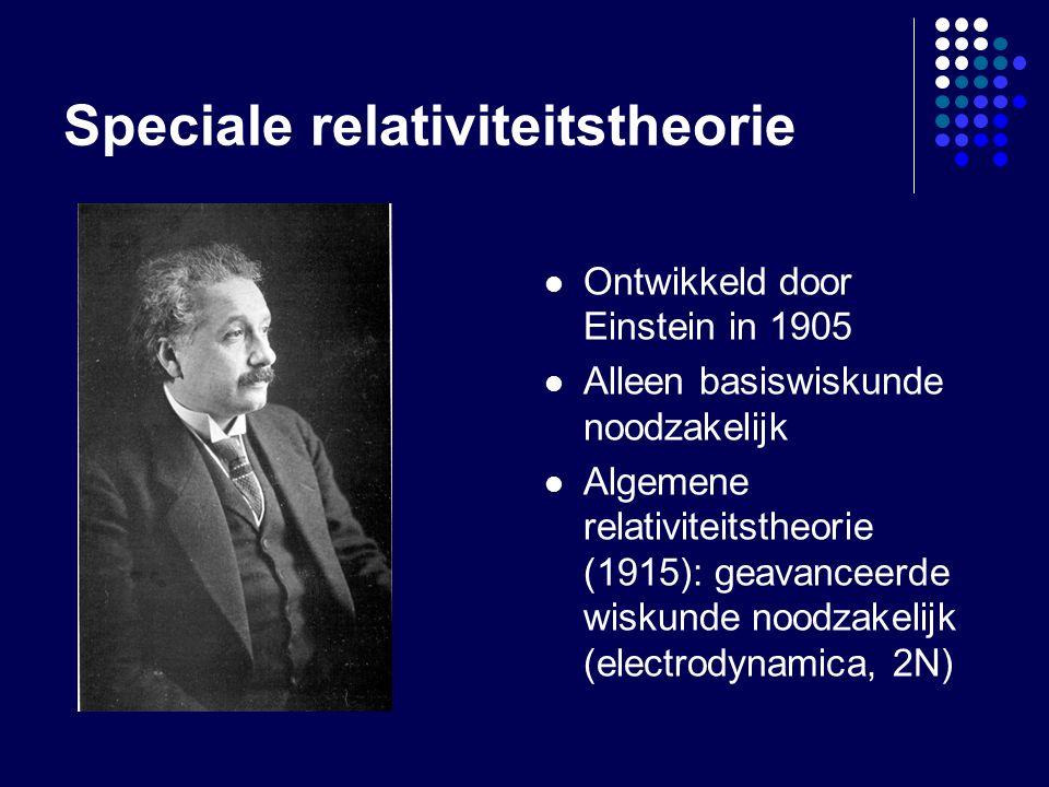 Speciale relativiteitstheorie Ontwikkeld door Einstein in 1905 Alleen basiswiskunde noodzakelijk Algemene relativiteitstheorie (1915): geavanceerde wiskunde noodzakelijk (electrodynamica, 2N)