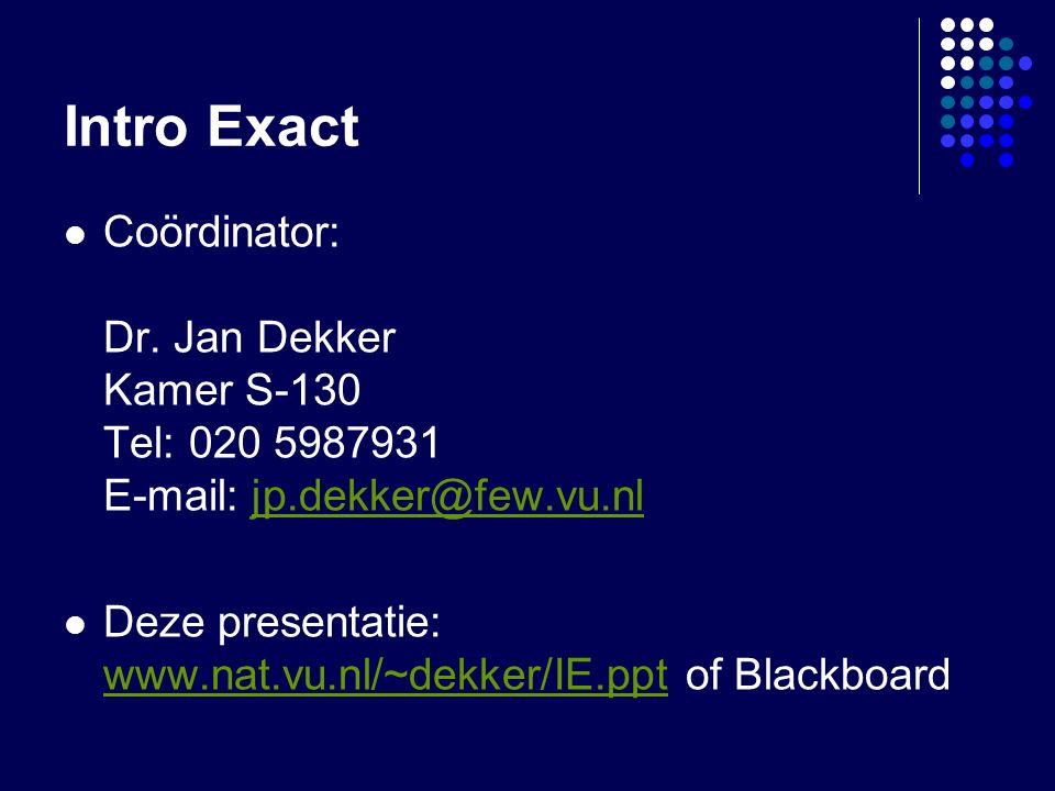 Intro Exact Coördinator: Dr.