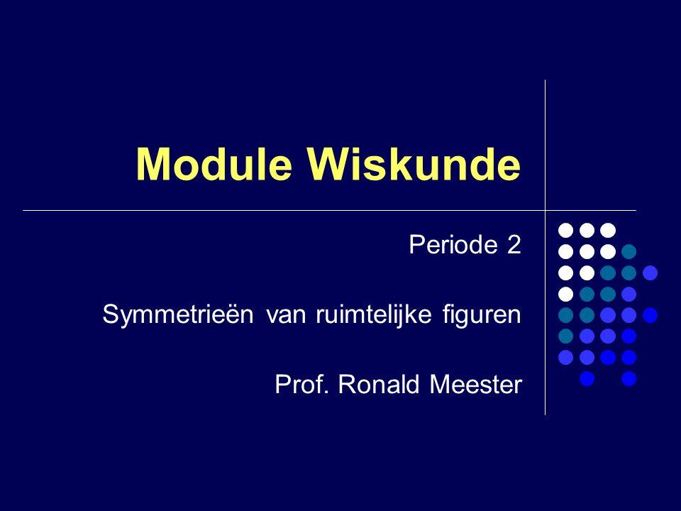 Module Wiskunde Periode 2 Symmetrieën van ruimtelijke figuren Prof. Ronald Meester