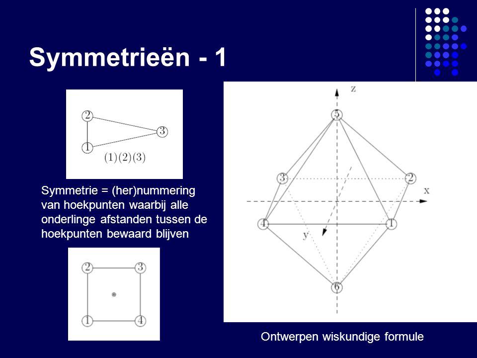 Symmetrieën - 1 Symmetrie = (her)nummering van hoekpunten waarbij alle onderlinge afstanden tussen de hoekpunten bewaard blijven Ontwerpen wiskundige formule