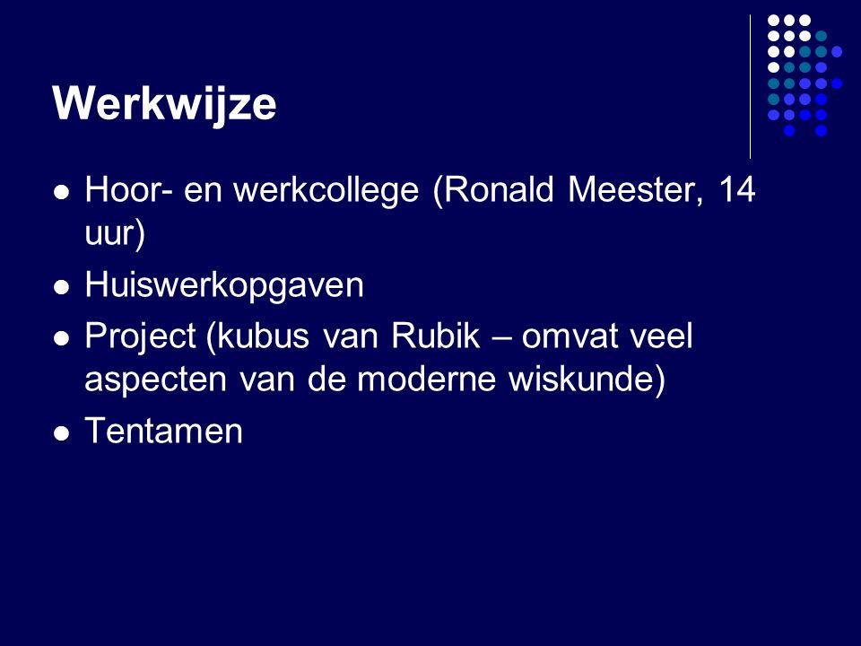 Werkwijze Hoor- en werkcollege (Ronald Meester, 14 uur) Huiswerkopgaven Project (kubus van Rubik – omvat veel aspecten van de moderne wiskunde) Tentamen
