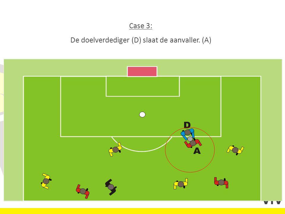 Case 3: De doelverdediger (D) slaat de aanvaller. (A)