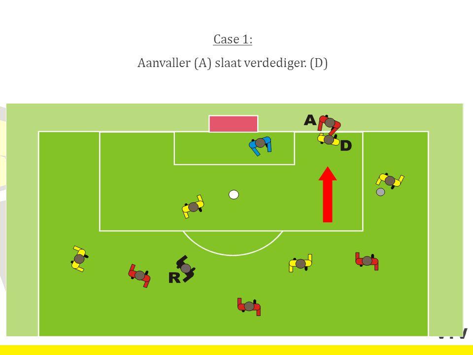 Case 1: Aanvaller (A) slaat verdediger. (D)