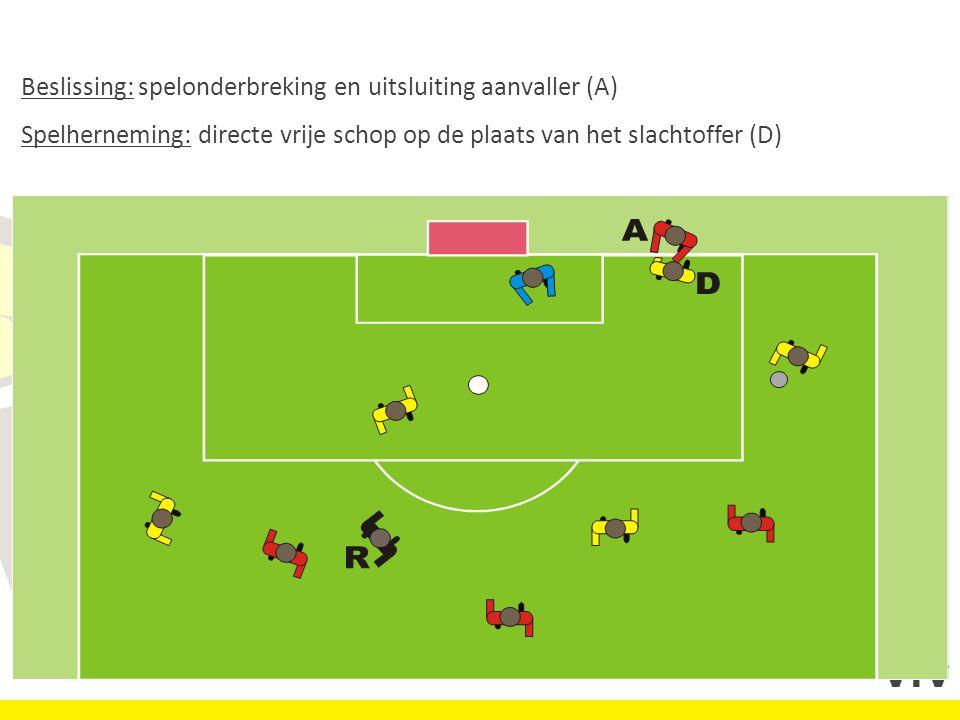 Beslissing: spelonderbreking en uitsluiting aanvaller (A) Spelherneming: directe vrije schop op de plaats van het slachtoffer (D)