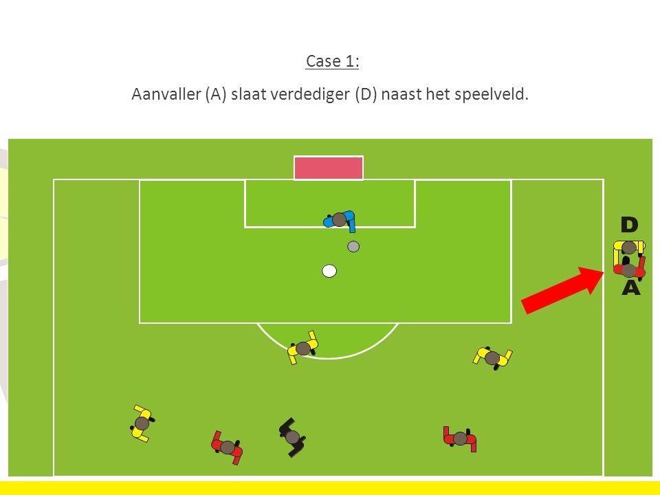 32 Case 1: Aanvaller (A) slaat verdediger (D) naast het speelveld..