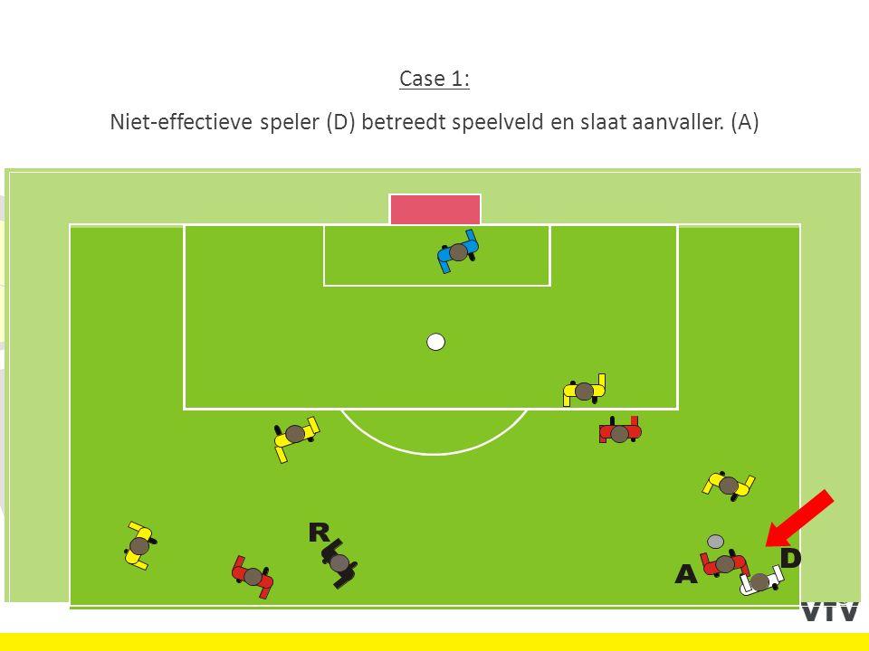 Case 1: Niet-effectieve speler (D) betreedt speelveld en slaat aanvaller. (A)