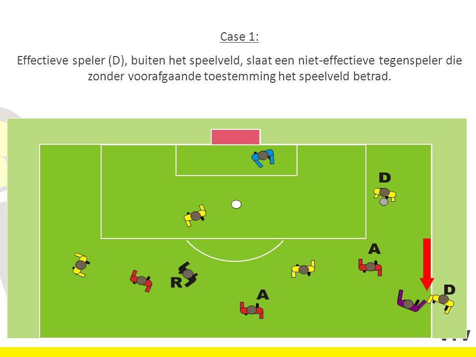 Case 1: Effectieve speler (D), buiten het speelveld, slaat een niet-effectieve tegenspeler die zonder voorafgaande toestemming het speelveld betrad.