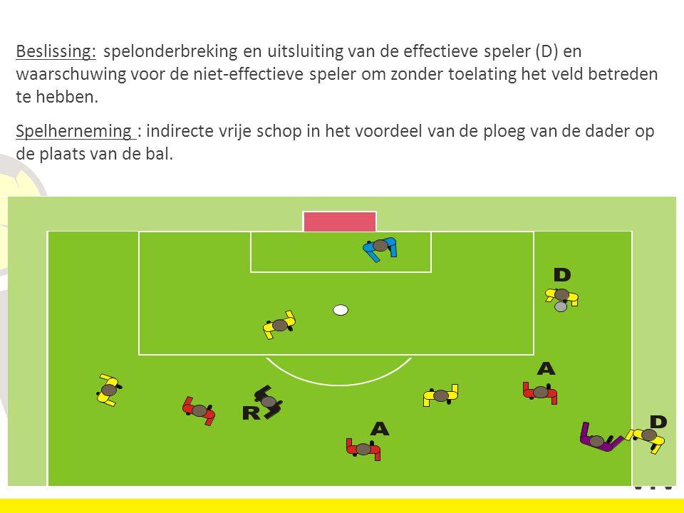 Beslissing: spelonderbreking en uitsluiting van de effectieve speler (D) en waarschuwing voor de niet-effectieve speler om zonder toelating het veld betreden te hebben.