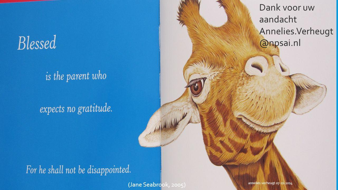 33 Dank voor uw aandacht Annelies.Verheugt @npsai.nl (Jane Seabrook, 2005) annelies verheugt 07-11-2014