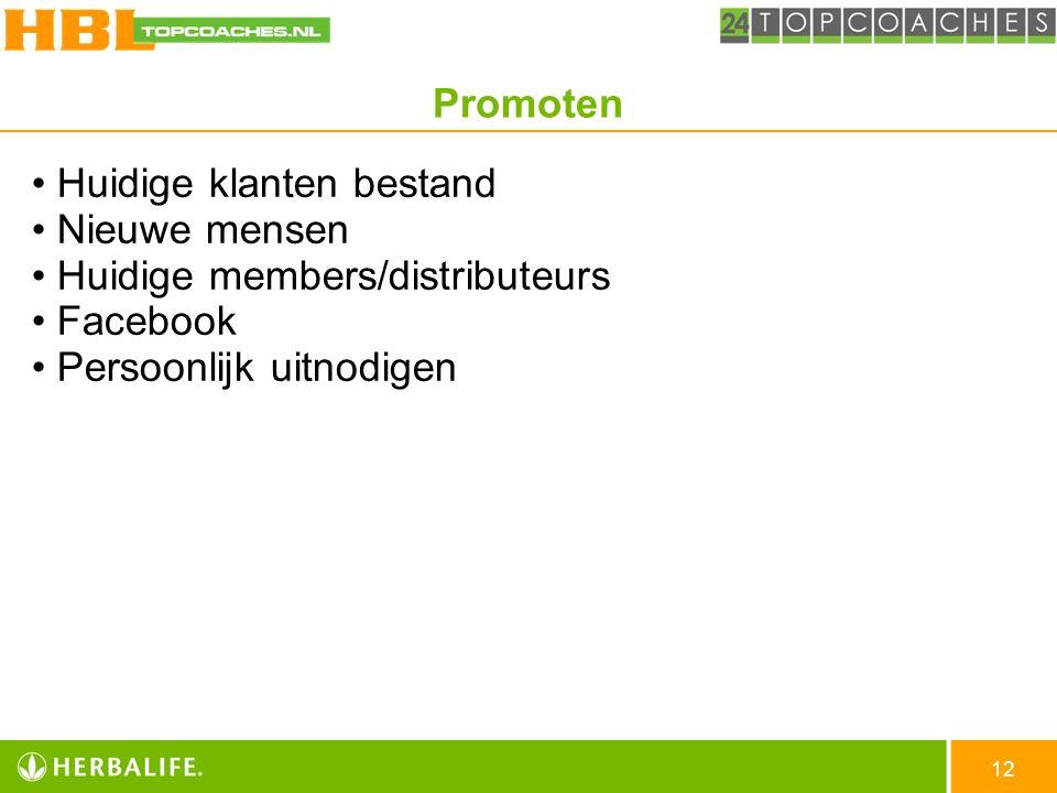 12 Huidige klanten bestand Nieuwe mensen Huidige members/distributeurs Facebook Persoonlijk uitnodigen Promoten