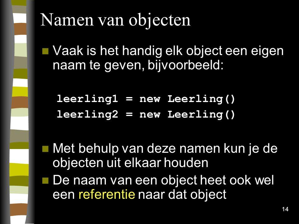 14 Namen van objecten Vaak is het handig elk object een eigen naam te geven, bijvoorbeeld: leerling1 = new Leerling() leerling2 = new Leerling() Met b