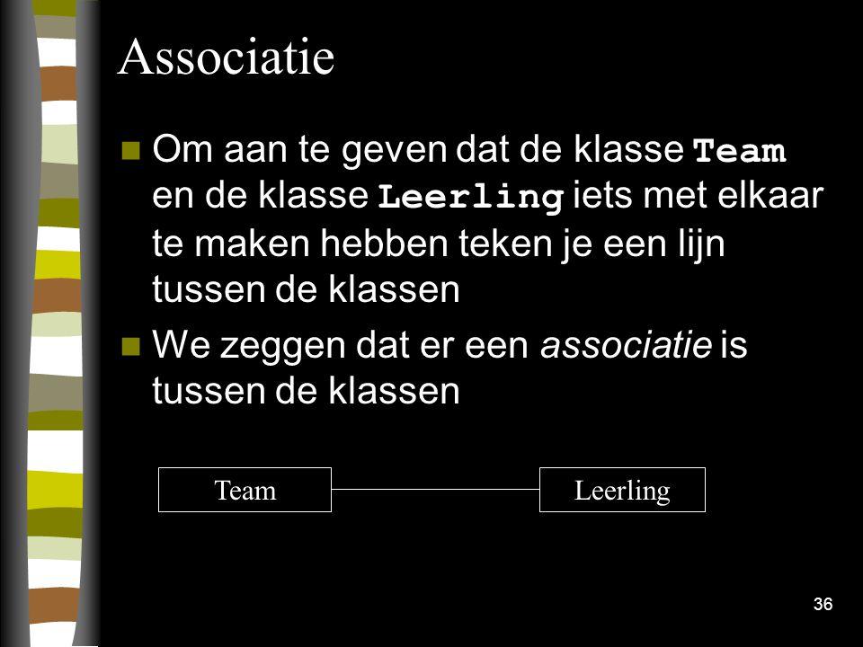 36 Associatie Om aan te geven dat de klasse Team en de klasse Leerling iets met elkaar te maken hebben teken je een lijn tussen de klassen We zeggen d