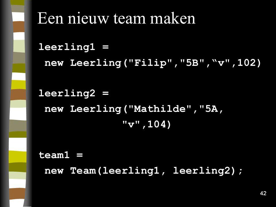 42 Een nieuw team maken leerling1 = new Leerling(
