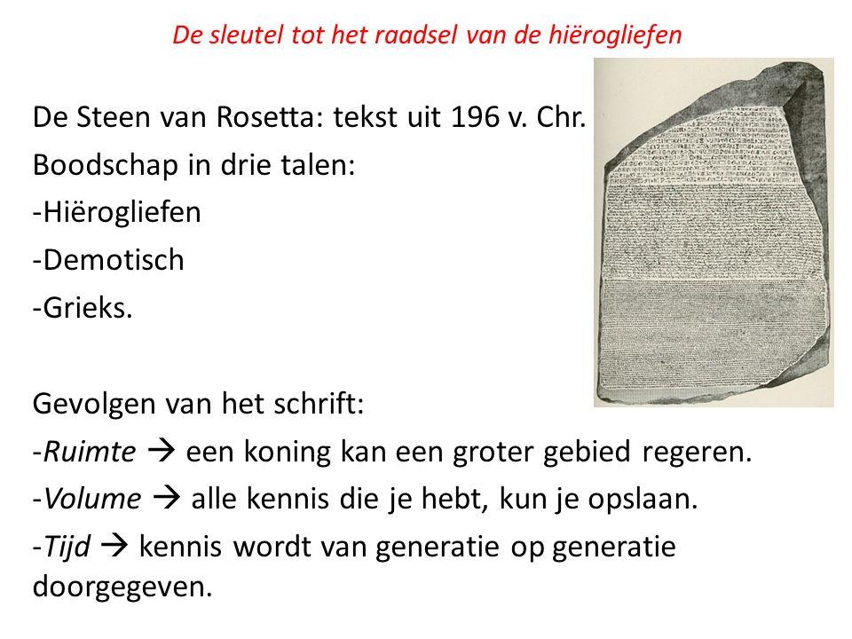 De sleutel tot het raadsel van de hiërogliefen De Steen van Rosetta: tekst uit 196 v. Chr. Boodschap in drie talen: -Hiërogliefen -Demotisch -Grieks.