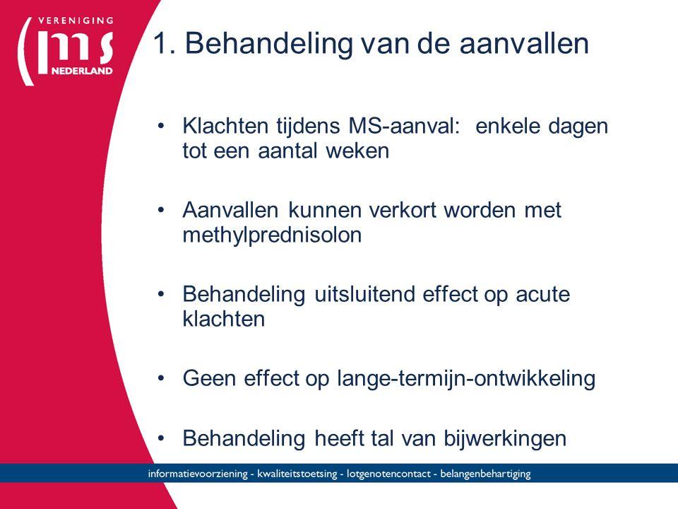 1. Behandeling van de aanvallen Klachten tijdens MS-aanval: enkele dagen tot een aantal weken Aanvallen kunnen verkort worden met methylprednisolon Be
