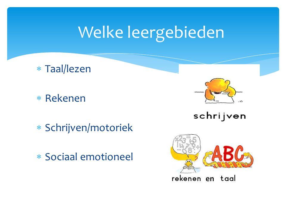 Welke leergebieden  Taal/lezen  Rekenen  Schrijven/motoriek  Sociaal emotioneel