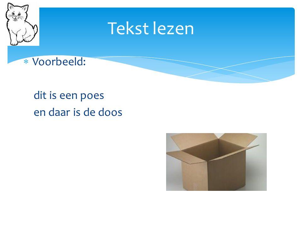 Tekst lezen  Voorbeeld: dit is een poes en daar is de doos
