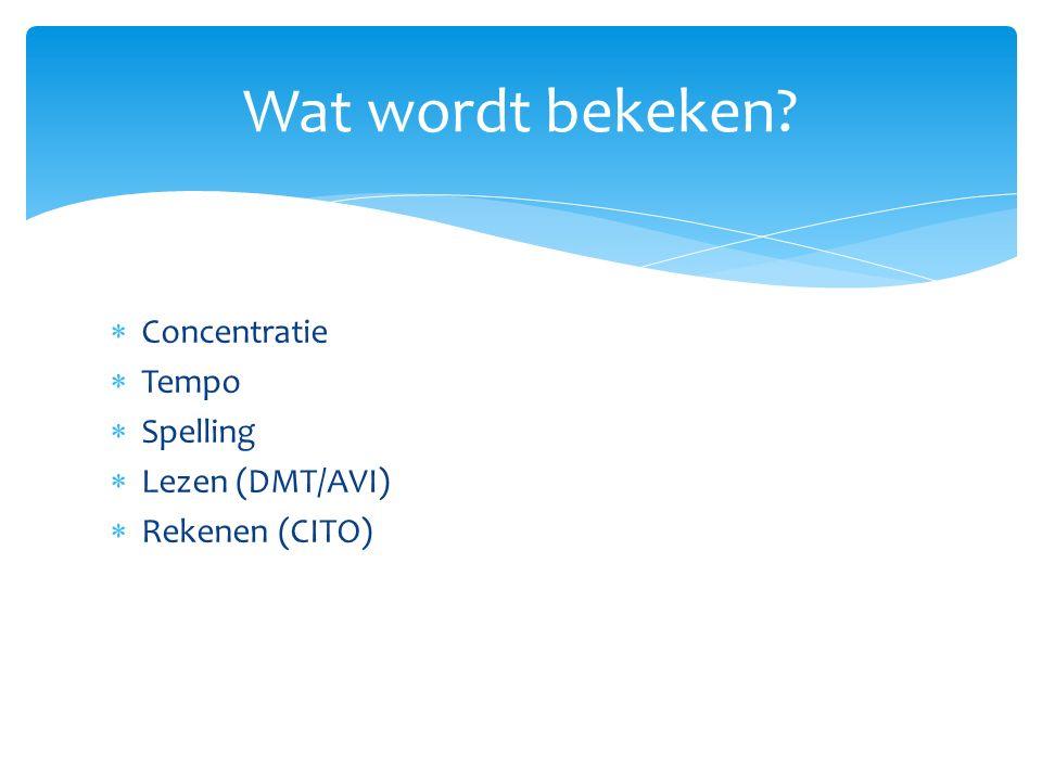  Concentratie  Tempo  Spelling  Lezen (DMT/AVI)  Rekenen (CITO) Wat wordt bekeken?
