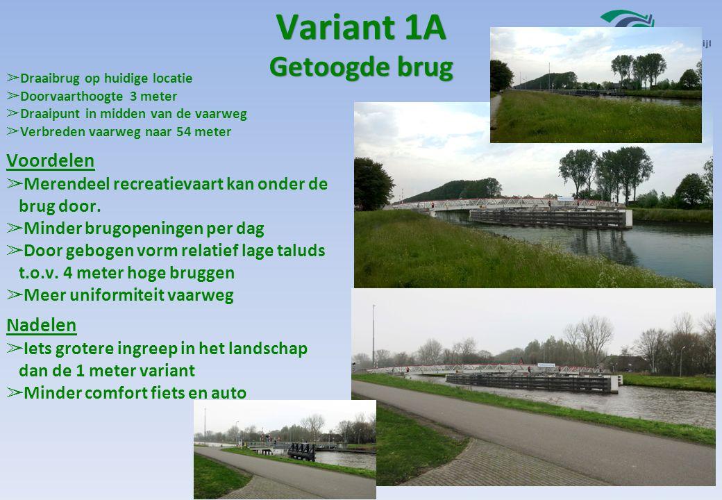 Variant 1A ➢ Draaibrug op huidige locatie ➢ Doorvaarthoogte 3 meter ➢ Draaipunt in midden van de vaarweg ➢ Verbreden vaarweg naar 54 meter Voordelen ➢ Merendeel recreatievaart kan onder de brug door.
