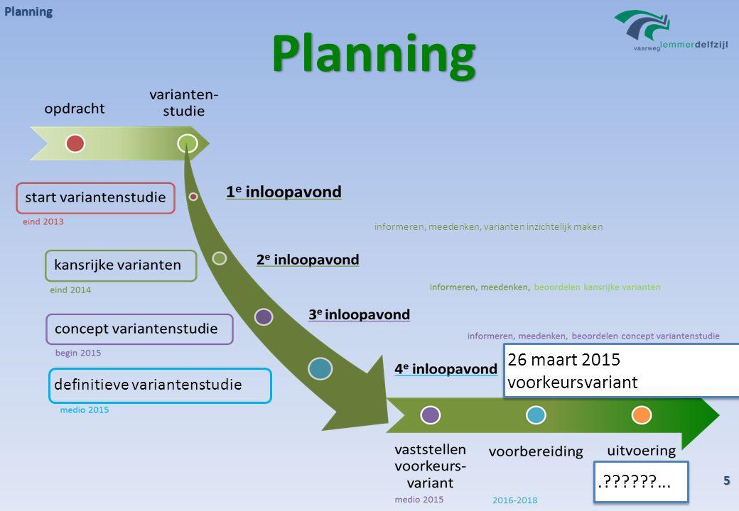 Planning 5 Planning definitieve variantenstudie informeren, meedenken, varianten inzichtelijk maken.?????.??????... 26 maart 2015 voorkeursvariant