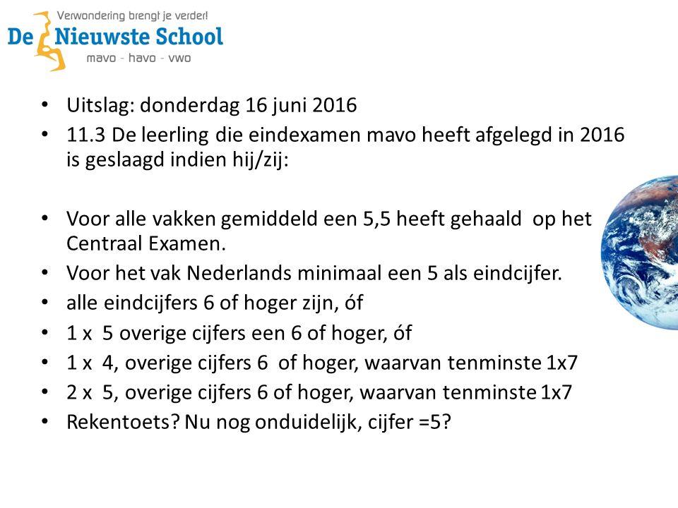 Uitslag: donderdag 16 juni 2016 11.3 De leerling die eindexamen mavo heeft afgelegd in 2016 is geslaagd indien hij/zij: Voor alle vakken gemiddeld een 5,5 heeft gehaald op het Centraal Examen.
