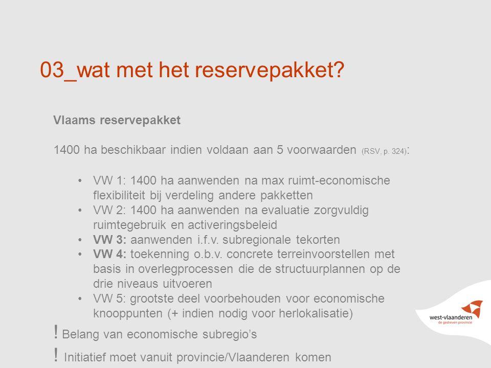 03_wat met het reservepakket? Vlaams reservepakket 1400 ha beschikbaar indien voldaan aan 5 voorwaarden (RSV, p. 324) : VW 1: 1400 ha aanwenden na max