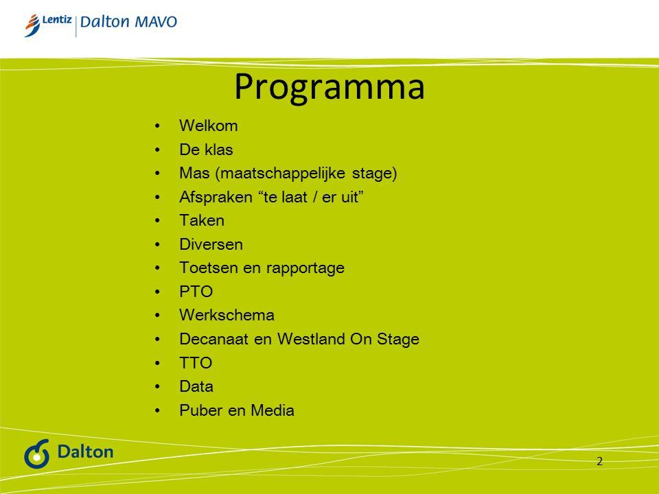 Programma Welkom De klas Mas (maatschappelijke stage) Afspraken te laat / er uit Taken Diversen Toetsen en rapportage PTO Werkschema Decanaat en Westland On Stage TTO Data Puber en Media 2