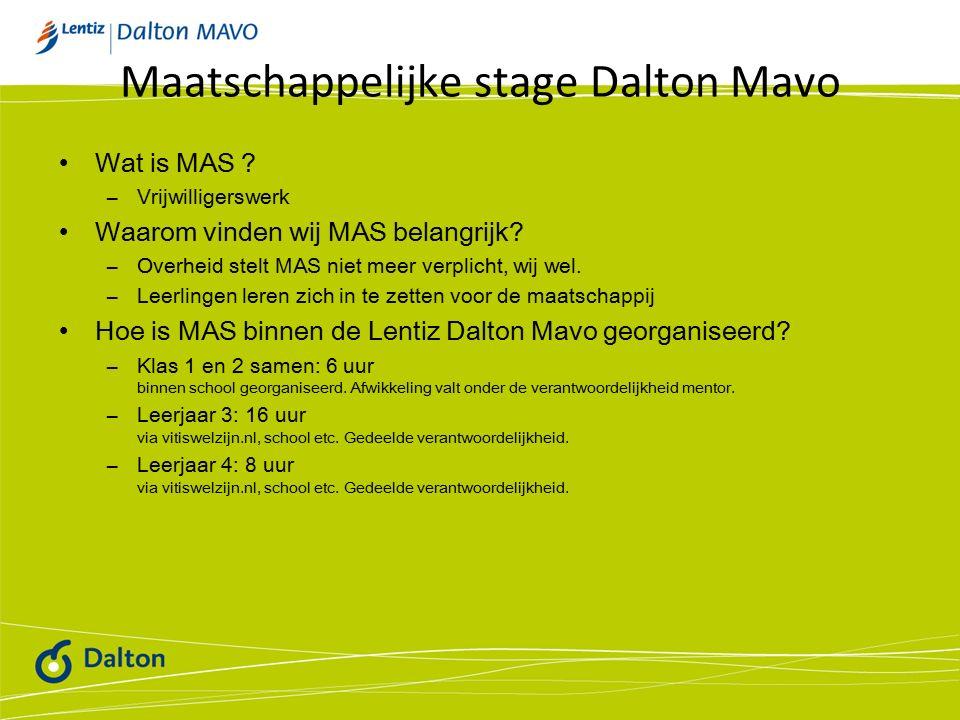 Maatschappelijke stage Dalton Mavo Wat is MAS .