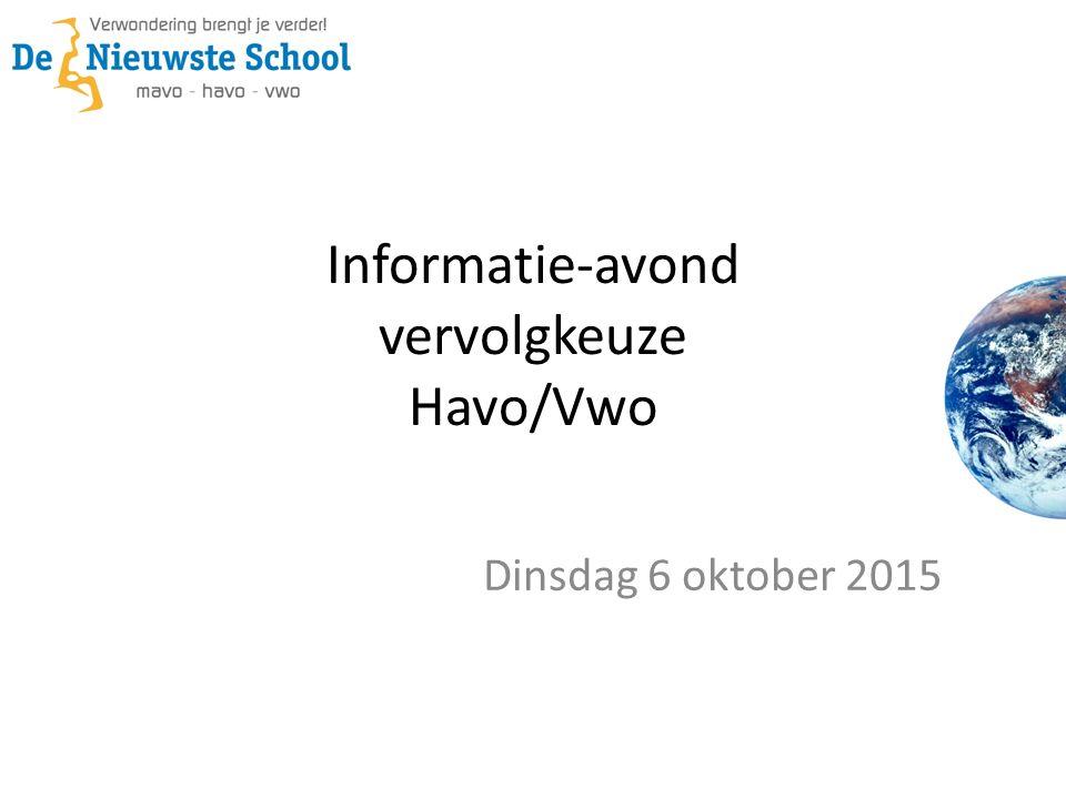 Informatie-avond vervolgkeuze Havo/Vwo Dinsdag 6 oktober 2015