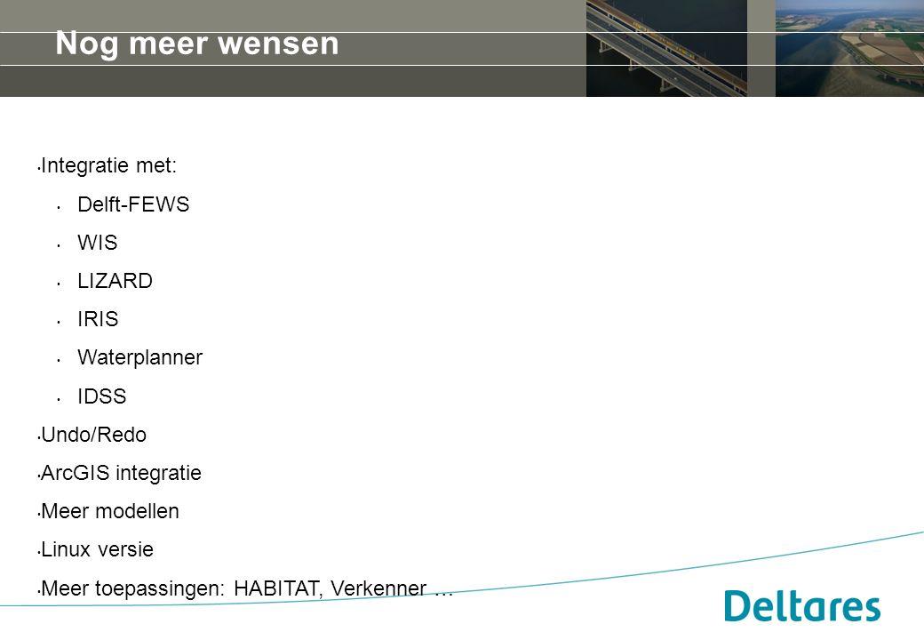 Nog meer wensen Integratie met: Delft-FEWS WIS LIZARD IRIS Waterplanner IDSS Undo/Redo ArcGIS integratie Meer modellen Linux versie Meer toepassingen: