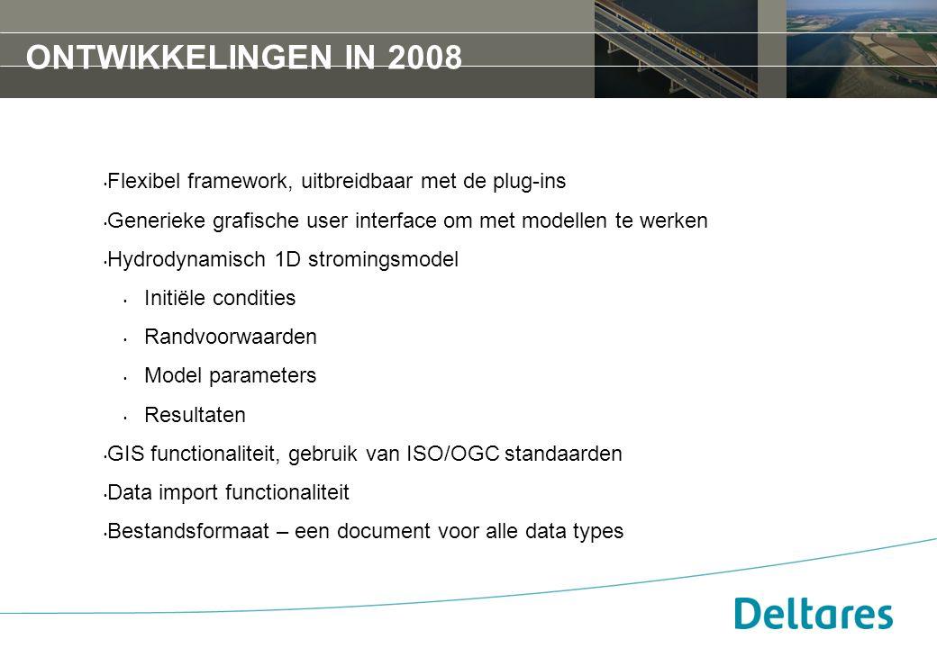 ONTWIKKELINGEN IN 2008 Flexibel framework, uitbreidbaar met de plug-ins Generieke grafische user interface om met modellen te werken Hydrodynamisch 1D