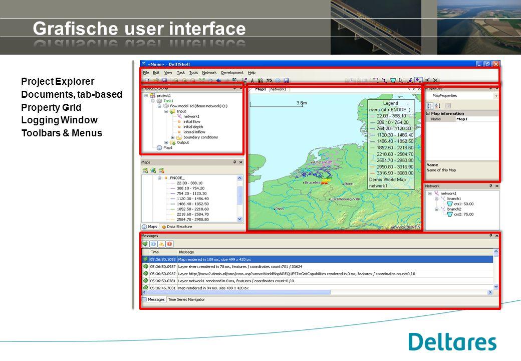 Project Explorer Documents, tab-based Property Grid Logging Window Toolbars & Menus