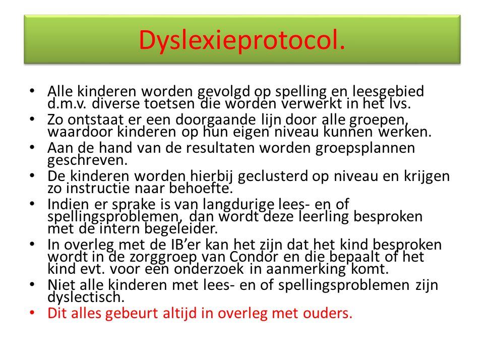 Dyslexieprotocol. Alle kinderen worden gevolgd op spelling en leesgebied d.m.v. diverse toetsen die worden verwerkt in het lvs. Zo ontstaat er een doo