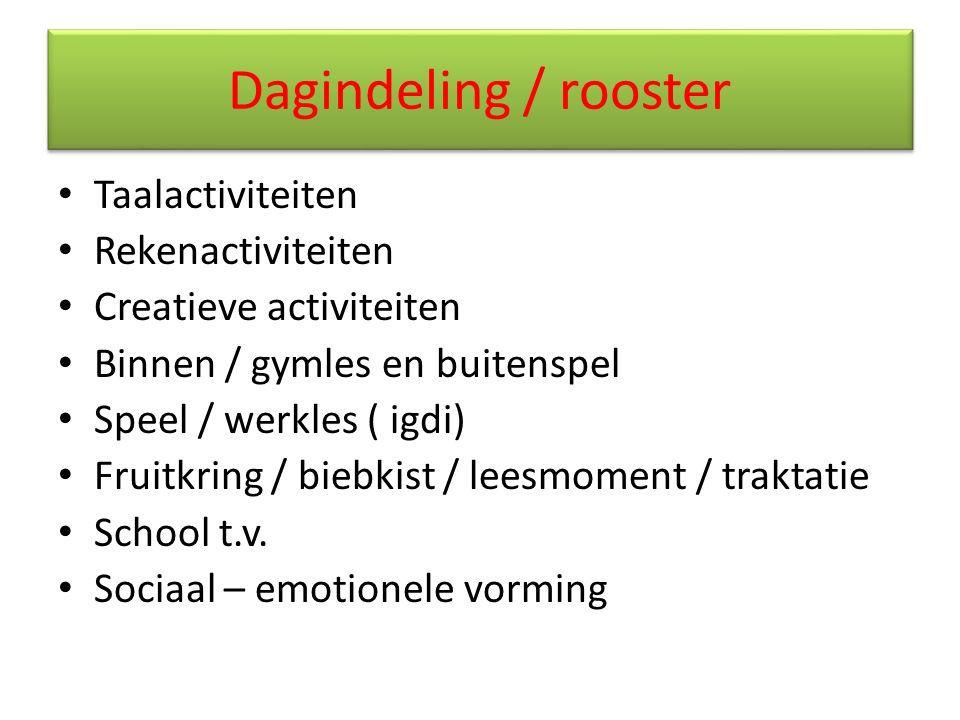 Dagindeling / rooster Taalactiviteiten Rekenactiviteiten Creatieve activiteiten Binnen / gymles en buitenspel Speel / werkles ( igdi) Fruitkring / bie