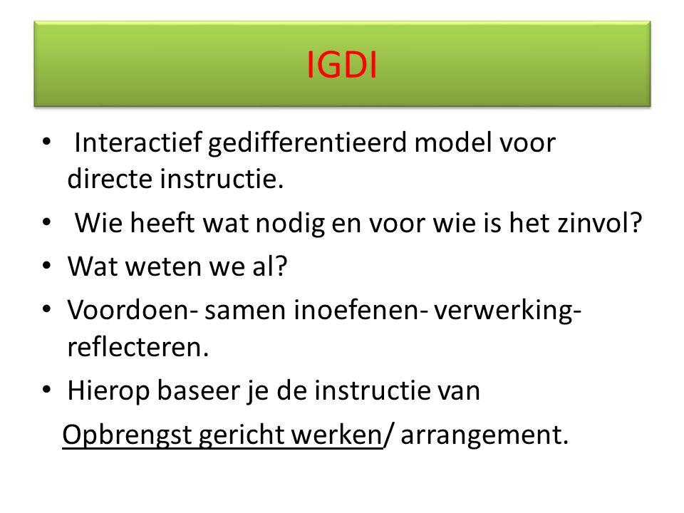 IGDI Interactief gedifferentieerd model voor directe instructie. Wie heeft wat nodig en voor wie is het zinvol? Wat weten we al? Voordoen- samen inoef
