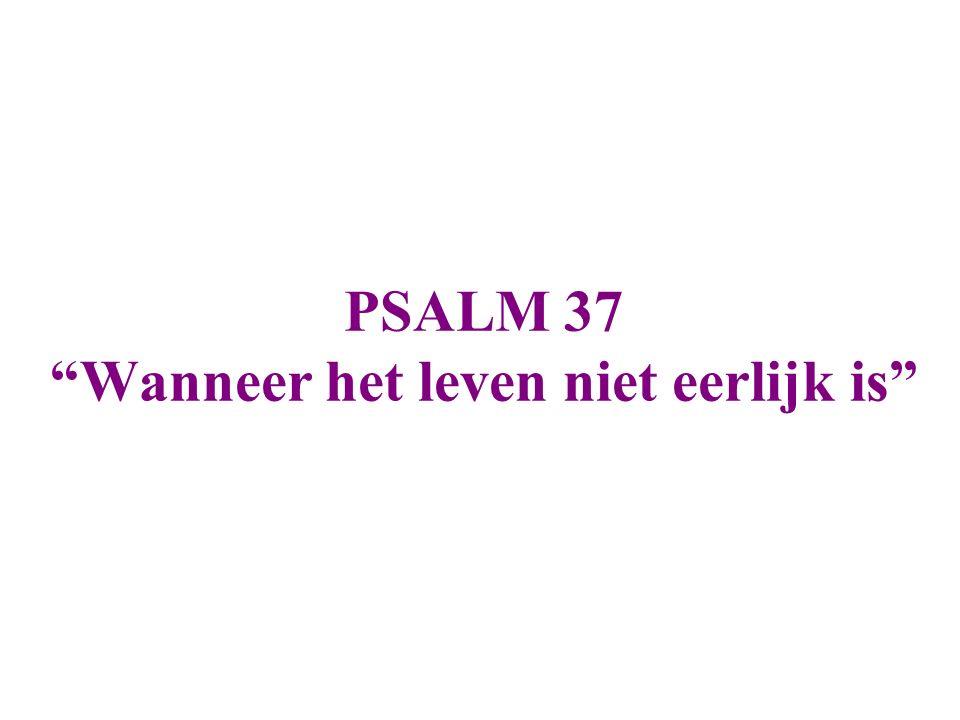 Psalm 37:1-8 Wees niet afgunstigWees niet afgunstig op de bedrijvers van ongerechtigheid, benijd niet wie onrecht plegen; want zij verdorren snel als het gras, en verwelken als het groene gras, VertrouwVertrouw op de Here en doe het goede, woon in het land en betracht ge trouwheid; VerlustigVerlustig u in de Here; dan zal Hij u geven de wensen van uw hart.