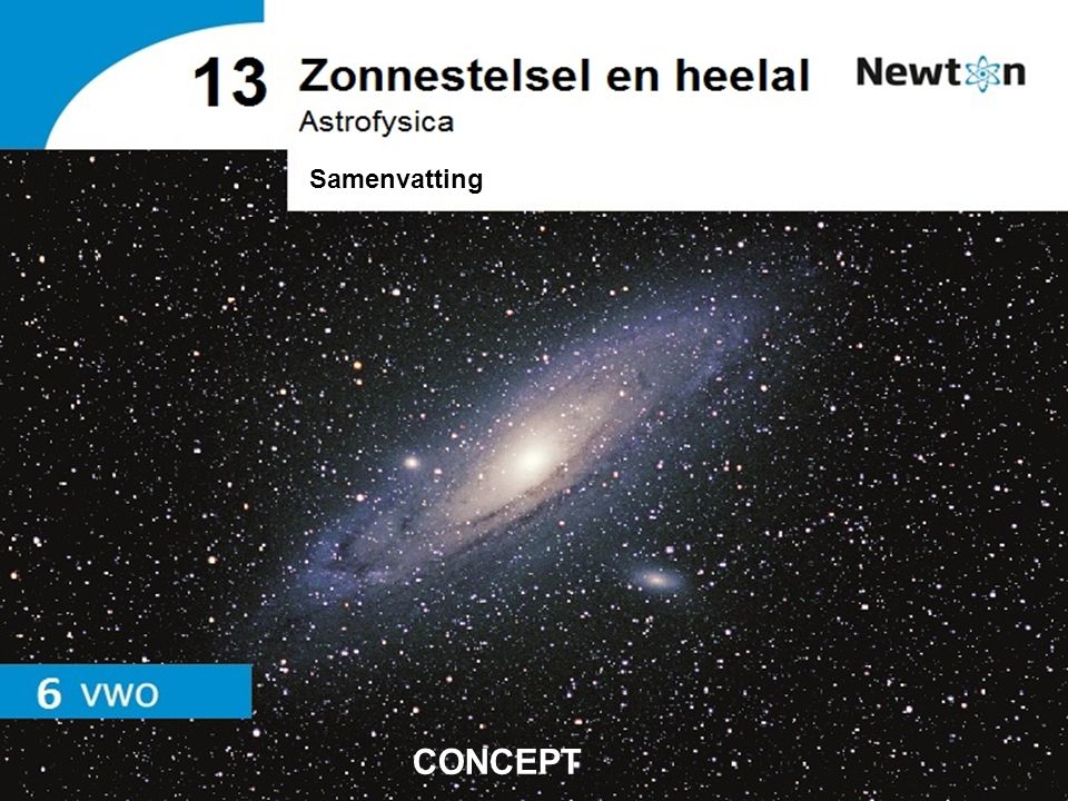 Astrofysica   vwo   Samenvatting 13 Zonnestelsel en heelal Figuur 14 Sterrenstelsel Figuur 15 De verwijderings- snelheid van sterrenstelsels is evenredig met hun afstand Wet van Hubble CONCEPT