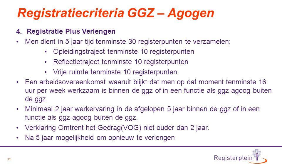 11 Registratiecriteria GGZ – Agogen 4.Registratie Plus Verlengen Men dient in 5 jaar tijd tenminste 30 registerpunten te verzamelen; Opleidingstraject tenminste 10 registerpunten Reflectietraject tenminste 10 registerpunten Vrije ruimte tenminste 10 registerpunten Een arbeidsovereenkomst waaruit blijkt dat men op dat moment tenminste 16 uur per week werkzaam is binnen de ggz of in een functie als ggz-agoog buiten de ggz.