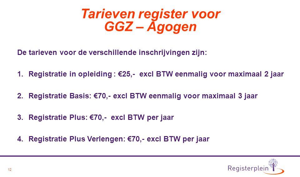 12 Tarieven register voor GGZ – Agogen De tarieven voor de verschillende inschrijvingen zijn: 1.Registratie in opleiding : €25,- excl BTW eenmalig voor maximaal 2 jaar 2.Registratie Basis: €70,- excl BTW eenmalig voor maximaal 3 jaar 3.Registratie Plus: €70,- excl BTW per jaar 4.Registratie Plus Verlengen: €70,- excl BTW per jaar