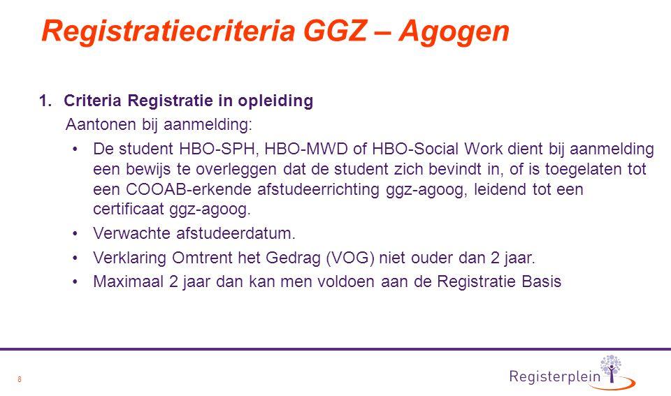 8 Registratiecriteria GGZ – Agogen 1.Criteria Registratie in opleiding Aantonen bij aanmelding: De student HBO-SPH, HBO-MWD of HBO-Social Work dient bij aanmelding een bewijs te overleggen dat de student zich bevindt in, of is toegelaten tot een COOAB-erkende afstudeerrichting ggz-agoog, leidend tot een certificaat ggz-agoog.